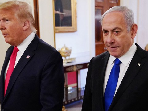 President Donald Trump and Israeli Prime Minister Benjamin Netanyahu arrive for an announcement of Trump's Middle East peace plan at the White House, Jan. 28, 2020. (Photo/JTA-Mandel Ngan-AFP via Getty)