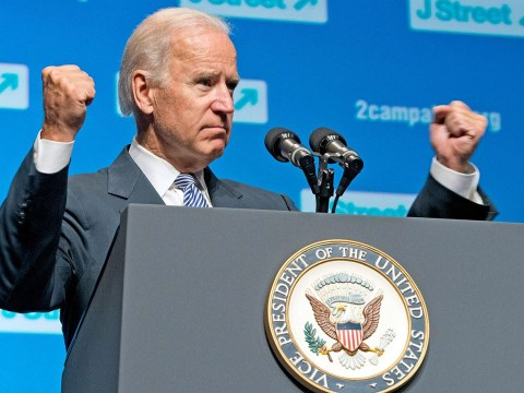 Then-Vice President Joe Biden addresses the 4th National J Street Conference at the Washington Convention Center in Washington, D.C., Sept. 30, 2013. (Photo/JTA-Ron Sachs-Pool-Getty Images)