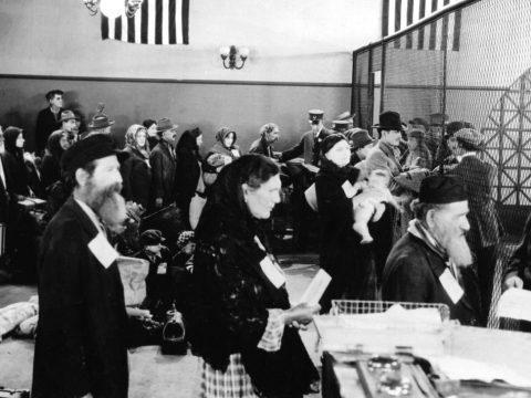 Jewish immigrants arrive at Ellis Island in New York, circa 1910. (JTA/APIC/GETTY)