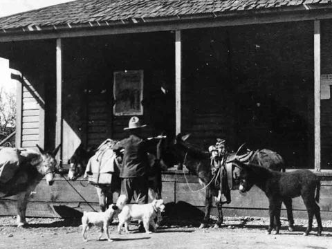 A miner stocks up on supplies from the Cohn-Goodday store in Magalia as pioneer Hirsch Cohn's daughters Norma and Hortense look on. (Photo/Courtesy Arcadia Publishing)