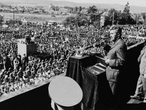 President Nicolae Ceausescu of Romania addresses a rally in Sfantu Gheorghe, circa 1975. (Photo/JTA-Keystone-Hulton Archive-Getty Images)