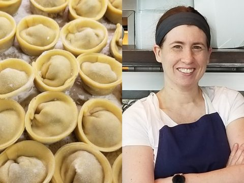Chef Beth Needelman of Schmaltz with her adorable kreplach. (Photo/Instagram-@schmaltzsf; Courtesy Schmaltz)