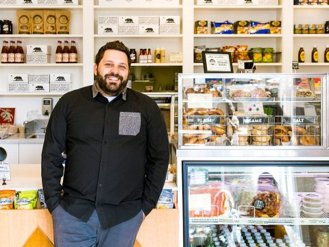 Wise Sons Jewish Delicatessen co-founder Evan Bloom at Wise Sons' bagel shop in the Marin Country Mart in Larkspur. (Photo/Maren Caruso)