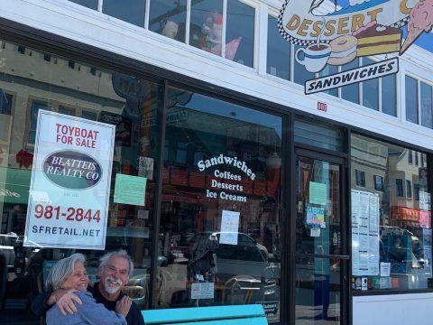Jesse Fink and Roberta Mindich Fink in front of Toy Boat Dessert Café. (Photo/AnnieRose Fink)