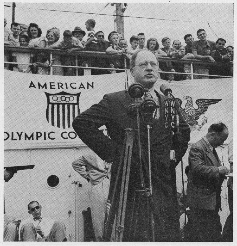Avery Brundage, then-vice president of the International Olympic Committee, speaks to the media at the London Olympics in 1948. (Photo/Wikimedia Commons)