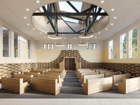 Architect's rendering of the planned renovation of the sanctuary of Congregation Chevra Thilim. (Photo/Courtesy Geddes Ulinskas)