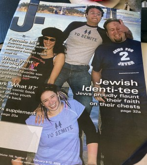 """Sarah Lefton (bottom) appeared on the Feb. 6, 2004 cover of J. in her """"Yo Semite"""" t-shirt."""