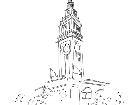 a simple line drawing of a clocktower