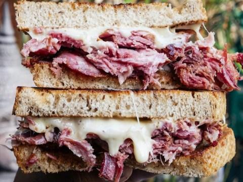 The Reubecca is Rebecca King's pork-heavy take on a Reuben sandwich. (Photo/JTA-Courtesy King)