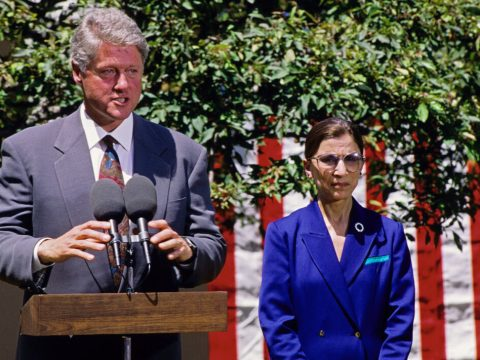 President Bill Clinton speaks as he names Judge Ruth Bader Ginsburg to the Supreme Court in the Rose Garden of the White House, June 14, 1993. (Photo/JTA-Ron Sachs-CNP-Getty Images)
