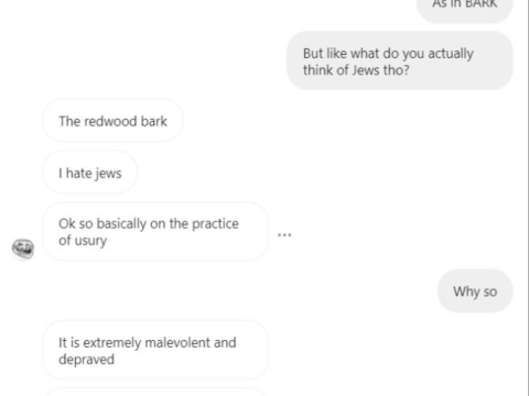Screenshot of an exchange between Daniel May, a Jewish student at Marin Academy, and the rhs_anti_semi_truck_league Instagram account.