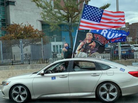 Cars drove through New York City Sunday waving Trump 2020 flags. (Photo/JTA-Shira Hanau)