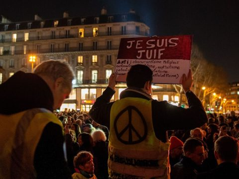 Protesters against antisemitism participate in a rally at Republique square in Paris, Feb. 19, 2019. (Photo/JTA-AFP-Getty Images)