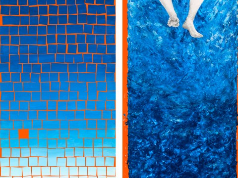 """Exposed"" (left) and ""Splash"" (right), artworks by Carol Roseman that have been selected for the current deYoung Open exhibition."
