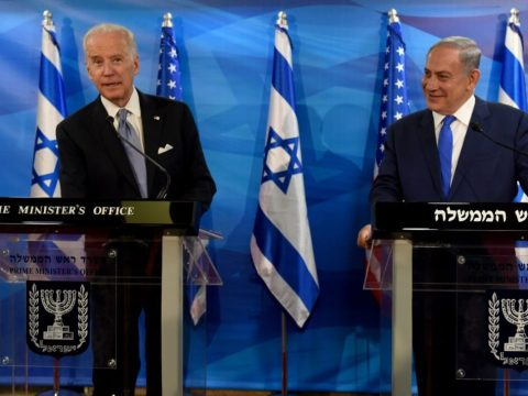 Then-Vice President Joe Biden (left) and Israeli Prime Minister Benjamin Netanyahu give joint statements to the press in the prime minister's office in Jerusalem, March 9, 2016. (Photo/JTA-Debbie Hill-AFP via Getty Images)