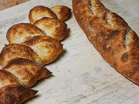Loaves of Adam Brelow's kosher sourdough bread. (Photo/Courtesy Ground Baking Co.)