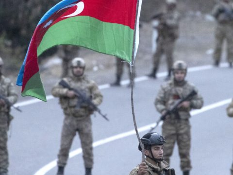 Azerbaijani soldiers near the village of Dadivank, Nov. 25, 2020. (Photo/JTA-Stanislav Krasilnikov-TASS via Getty Images)