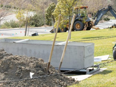 A grave is dug at the Groman Eden Mortuary at Eden Memorial Park in Mission Hills, California. (Photo/JTA-Anthony Lampe)