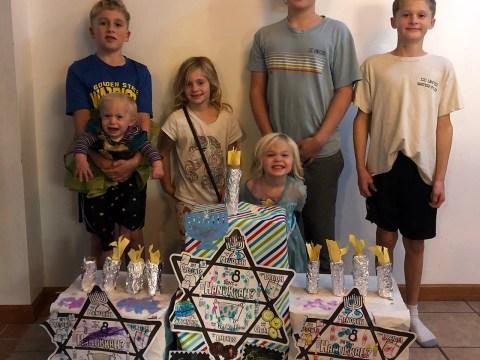 The Bronson kids with their winning menorah.