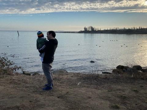 Jeff Sabin-Matsumoto with baby Arya.