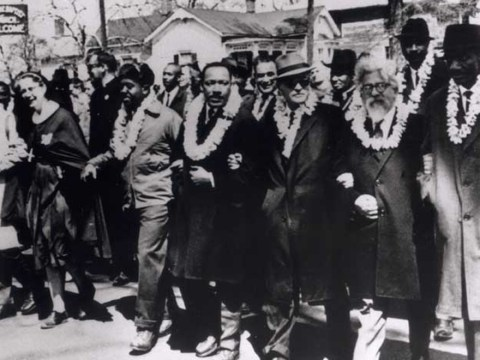 Rabbi Abraham Joshua Heschel (second from right) marching with Rev. Martin Luther King, Jr. in the second Selma to Montgomery civil rights march on Mar. 21, 1965.
