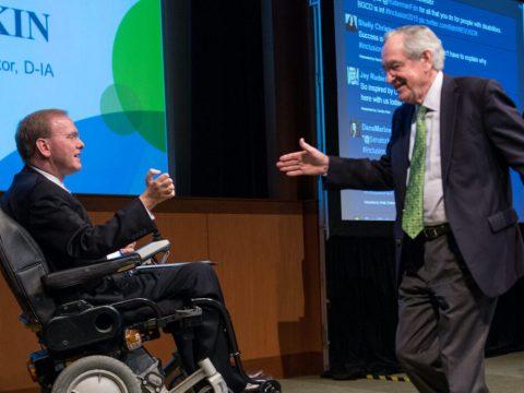 Rep. Jim Langevin (left) of Rhode Island greets former Iowa Sen. Tom Harkin at a Ruderman Foundation Inclusion Summit in Boston. (Photo/JTA-Noam Galai)
