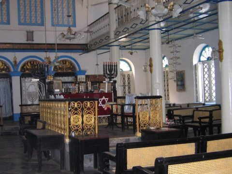 Inside the Musmeach Yeshua Synagogue in Yangon, Myanmar. (Photo/JTA-Ben G. Frank)