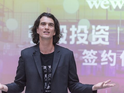 Adam Neumann speaks at WeWork Weihai Road in Shanghai, April 12, 2018. (Photo/JTA-Jackal Pan-Visual China Group via Getty Images)