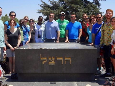 Moyo, fourth from left, on a Sixth & I congregational trip to Israel in 2013. Rabbi Shira Stutman is at far right. Moyo's husband, Joshua Polacheck, is next to Stutman. (Photo/Courtesy Moyo)