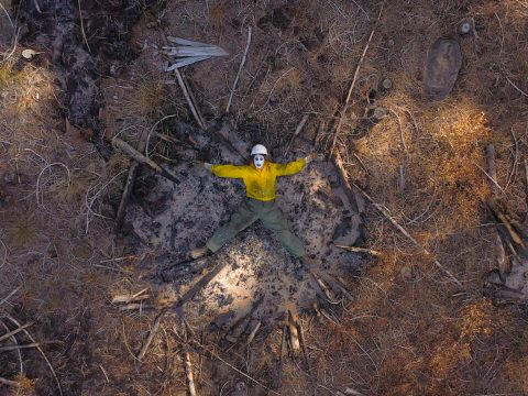"""From """"My Golem as a Wildland Firefighter"""" by Julie Weitz, 2020, part of a new digital exhibit at the Contemporary Jewish Museum in San Francisco."""