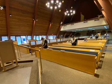 Rabbi Gershon Albert's Oakland synagogue, Beth Jacob Congregation, held its first indoor service in a year, March 14, 2021.