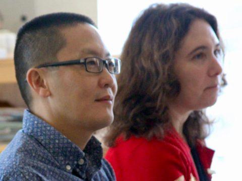 Andy Cheng (left) at a Be'chol Lashon advisory board retreat in 2017. (Photo/Courtesy Be'chol Lashon)