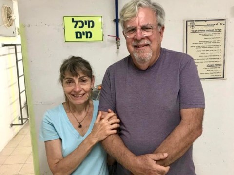 Mari and Marc Snyder, who are currently visiting their son and his family, inside a Tel Aviv bomb shelter.