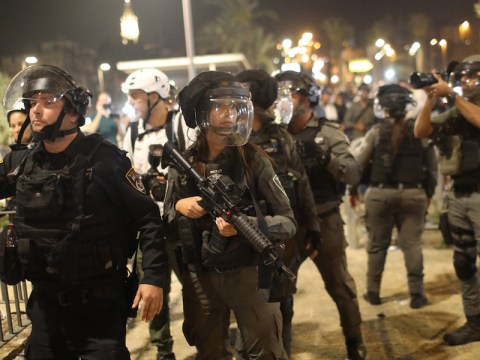 Israeli security forces deploy during a demonstration against planned evictions in the Sheikh Jarrah neighborhood, May 2021. (Photo/JTA-Ilia Yefimovich-picture alliance via Getty Images)