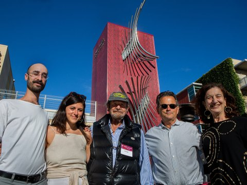 """(From left) Ron Shalom, Rebecca Deutsch, Tad Taube, Richard Deutsch and Shana Penn at the unveiling of """"Chai."""" (Photo/Saul Bromberger)"""