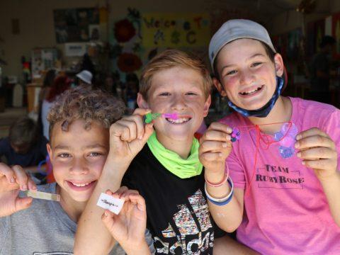 Miles Simon, Asher Goldwasser and Ben Gottlieb enjoying post-pandemic life at Camp Tawonga.