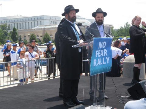 Shlomo Noginsky, a rabbi who was stabbed in Boston, speaks to a rally against antisemitism at the U.S. Capitol in Washington, D.C., July 11, 2021. (Photo/JTA-Ron Kampeas)