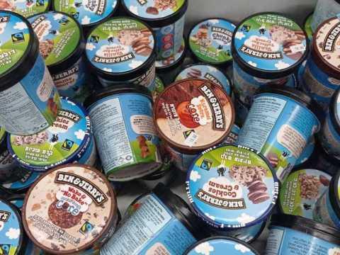 A selection of Ben & Jerry's ice cream in Israel. (Photo/JTA-Linda Gradstein)