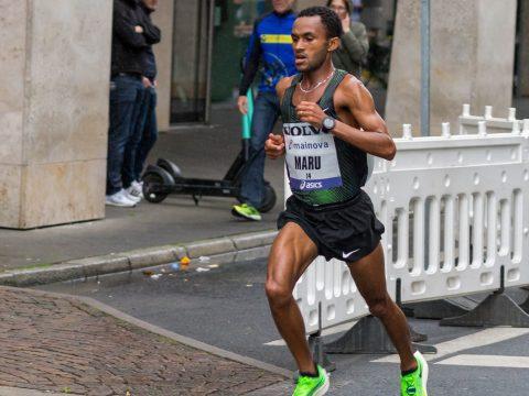 Israeli Maru Teferi competes in the Frankfurt Marathon in 2019. (Photo/JTA-Marco Verch-Flickr)