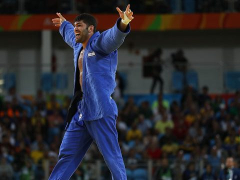 Ori Sasson celebrates after a win at the Rio Olympic Games, Aug. 12, 2016. (Photo/JTA-Getty Images)