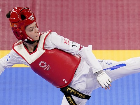 Israel's Avishag Semberg competes in the women's under 49kg taekwando tournament on the first day of the Tokyo Olympics, July 24, 2021. (Photo/JTA-Danny Lawson-PA Images via Getty Images)