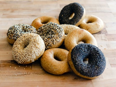 Tishman recommends slicing bagels in half while fresh and then freezing. Before toasting, spray with a bit of water. (Photo/Maya G. Photography)