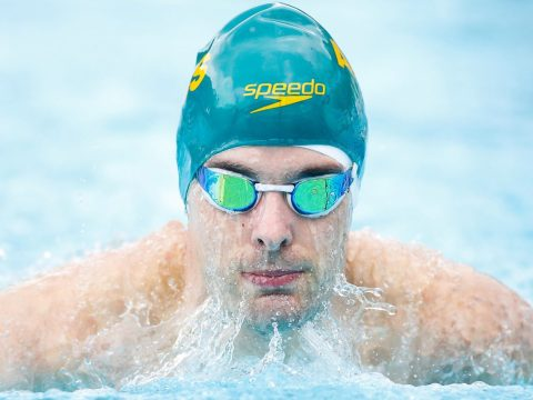 Matthew Levy competes in the qualifier for the men's 100m breaststroke at the Caixa Loterias 2014 Paralympics Swimming competition at the Hebraica Club in Sao Paulo, Brazil, April 24, 2014. (Photo/JTA-Alexandre Schneider-Getty Images)