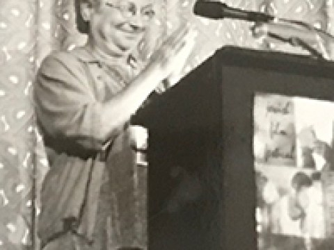 Marcia Freedman at the Castro Theatre on opening night of the S.F. Jewish Film Festival in 1999. (Photo/Richard Bermack)