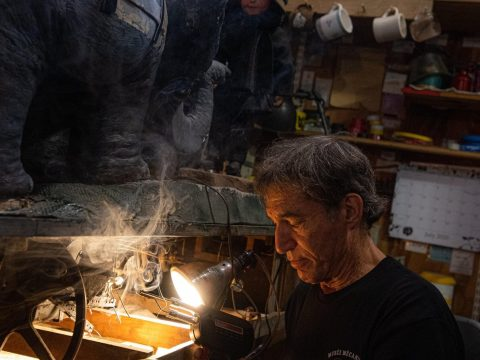 """Dan Zelinsky is working on his """"The boy and the elephant,"""" a machine from 19th century Paris."""