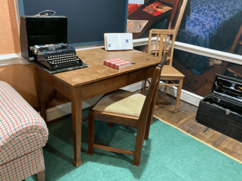 The Anne Frank Center, in Columbia, South Carolina, includes a desk similar to the one that Anne Frank wrote at. She was given a pink checkered diary on her 13th birthday just before the family went into hiding in 1942. (Photo/RNS-Yonat Shimron)