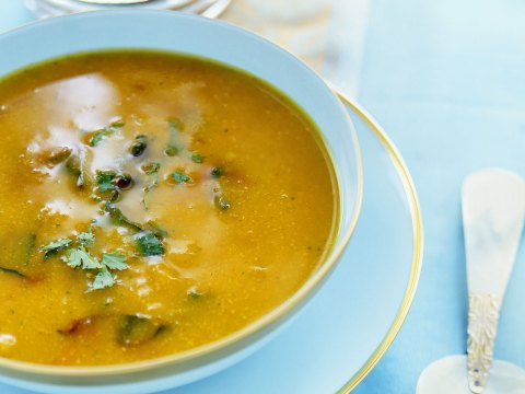 Soup with Chickpeas, Pumpkin and Cilantro, a hearty classic. (Props Sarah Slavin; Food Sandra Cook)