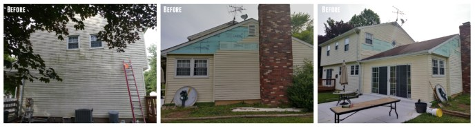 Before Photos: old faded vinyl siding and damaged exterior of this home in Carroll County Finksburg MD 21048