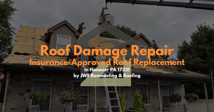 We offer insurance restoration roof damage repair for hail/storm/wind damage like this in Hanover PA 17331