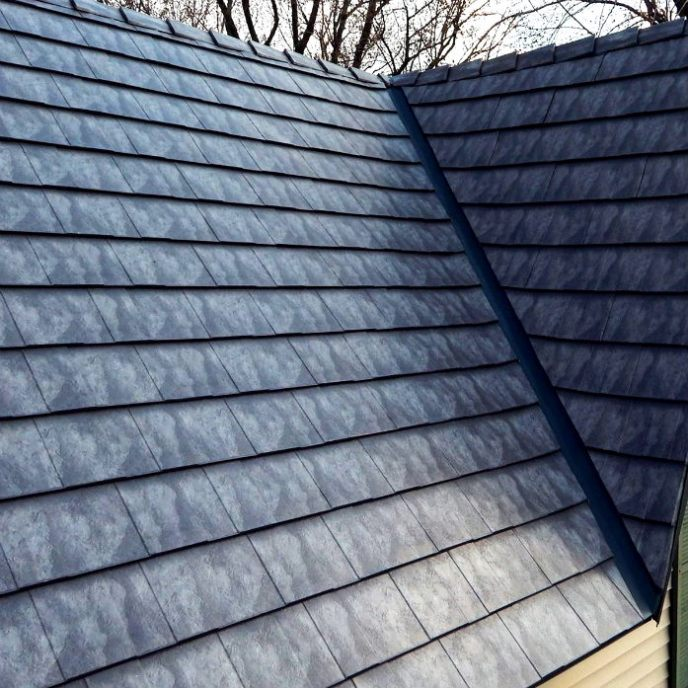 Metal shingle roofing: slate style metal shingles in Hanover PA by JWE